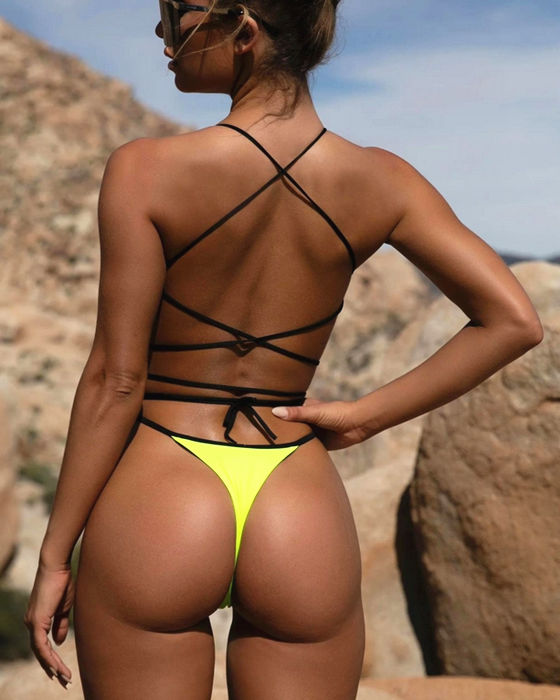 Women's Sexy Solid String Backless One Piece Swimsuit
