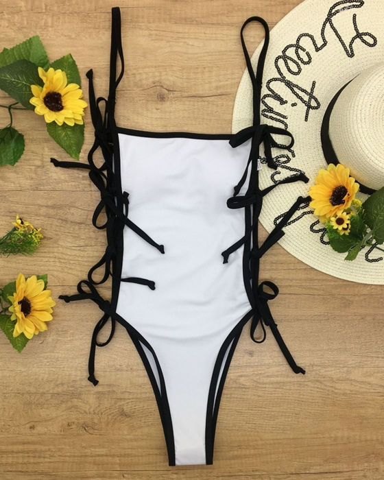 Women's Sexy Solid Lace Up One Piece Swimsuit