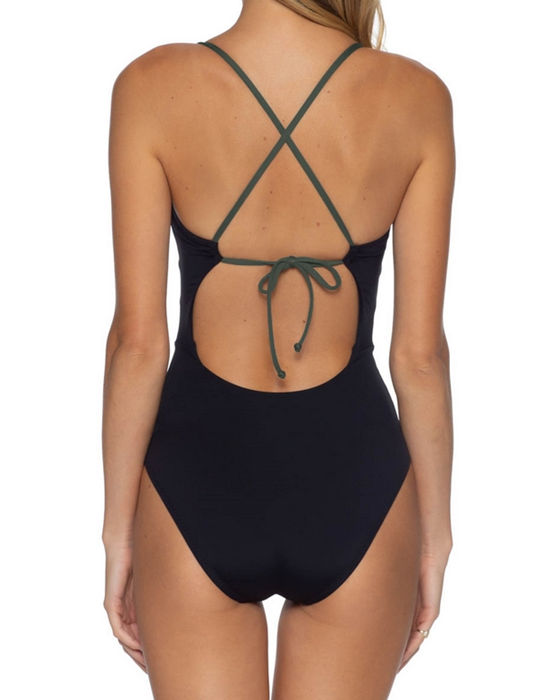 Women's Patchwork Knot Front Push Up One Piece Swimsuit