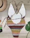 Women's Horizontal Striped Backless One Piece Swimsuit