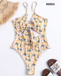 Women's Sexy Backless Knot Front One Piece Swimsuit