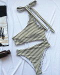 Women's Sexy One Shoulder Striped One Piece Swimsuit