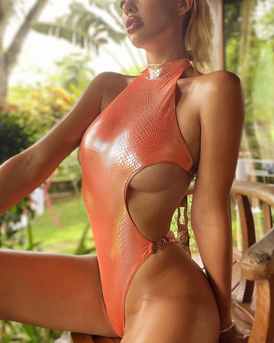 Women's Sexy Reflective Solid Snake Print One Piece Swimsuits