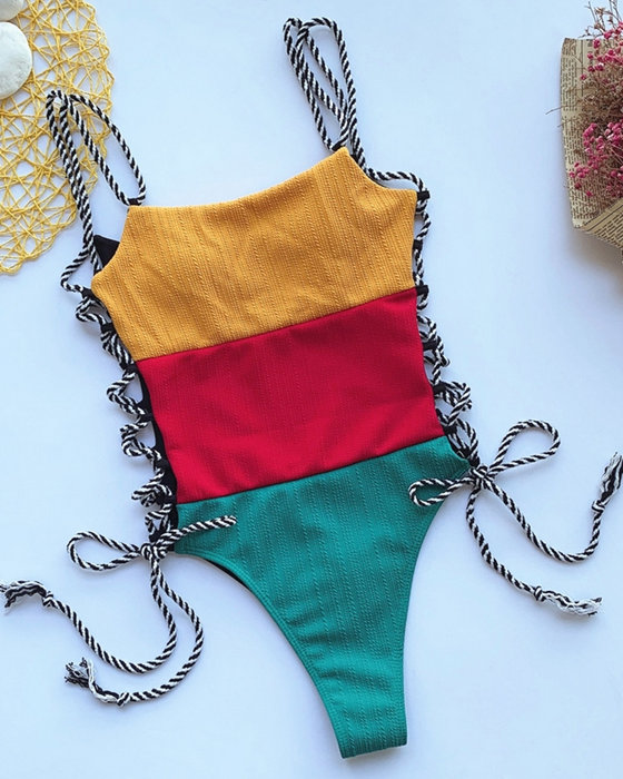Women's Sexy Solid Color Stitching One Piece Swimsuit