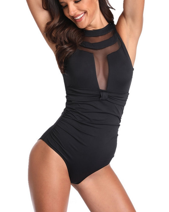 Women's Mesh Swimwear Solid One Piece Swimsuit