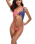 Women's Sexy Cut Out American Flag Print One Piece Swimsuit