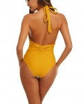 Women's Backless Striped Patchwork Halter One Piece Swimsuit