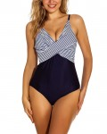 Women's Striped One Piece Swimsuit Padded Bathing Suit