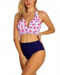 Women's Floral Two Piece Swimsuit High Waisted Bathing Suit