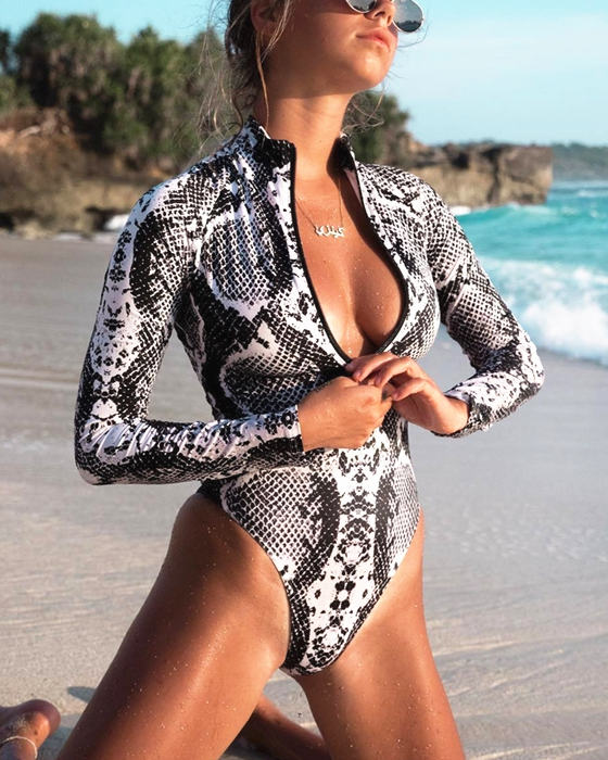 Women's Snake Print Swimsuit Zipper Long Sleeve Swimwear