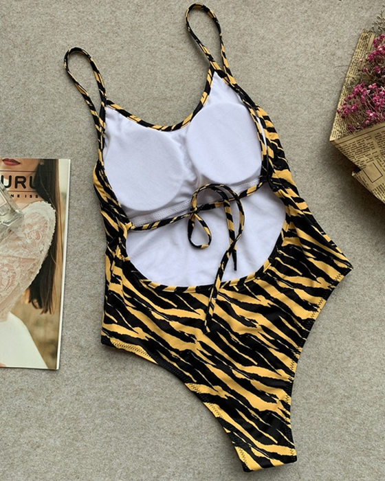 Women's Backless Tiger Print One Piece Swimsuit