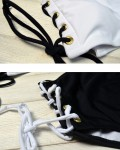 Women's Black And White Lace Up One Piece Swimsuit