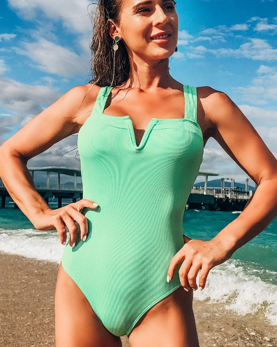 Women's Solid Ribbed Swimsuit One Piece Swimwear