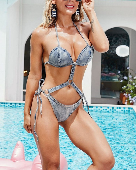 Women's Sexy Denim Swimsuit One Piece Swimwear