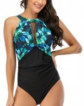 Women's Sexy Patchwork Sleeveless Swimwear One Piece Swimsuit