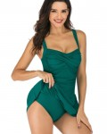 Women's Solid Swim Dress With Shorts One Piece Swimsuit