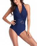 Sexy Solid Halter One Piece Swimsuits For Women