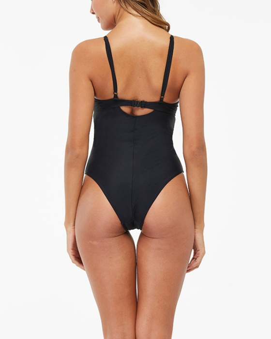 Women's Sexy Cut Out Solid Tummy Hiding One Piece Swimsuit