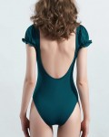 Women's Short Sleeve Swimsuit Backless One Piece Bathing Suit