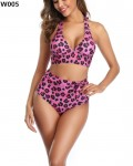 Women's Fashion Leopard Bathing Suit High Waisted Two Piece Swimsuit
