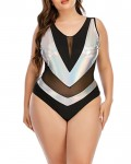Women's Patchwork See Through Plus Size Swimsuit