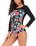Women's Backless Long Sleeve Floral One Piece Swimsuit Plus Size